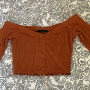 Rusty organge cropped off the shoulder top